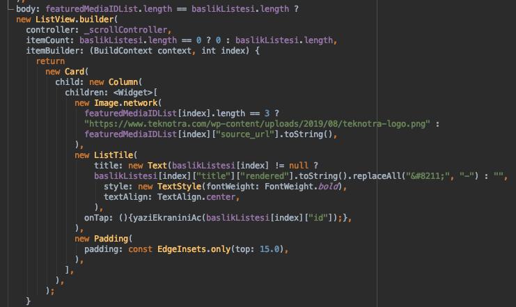flutter dizi listeleme kodları