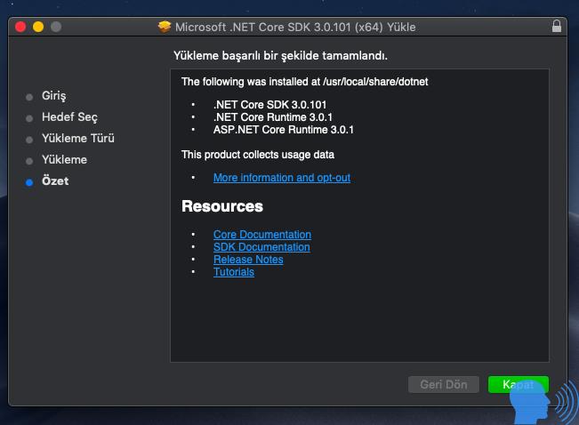 Mac OS .Net Core Yüklemek
