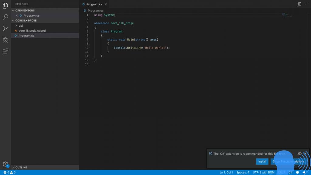 .net core ilk uygulama