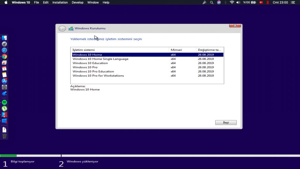 windows 10 kurulumu parallels desktop Windows kurmak