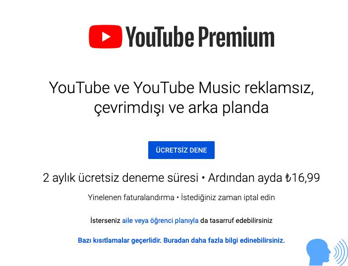 youtube premium deneme hesabı